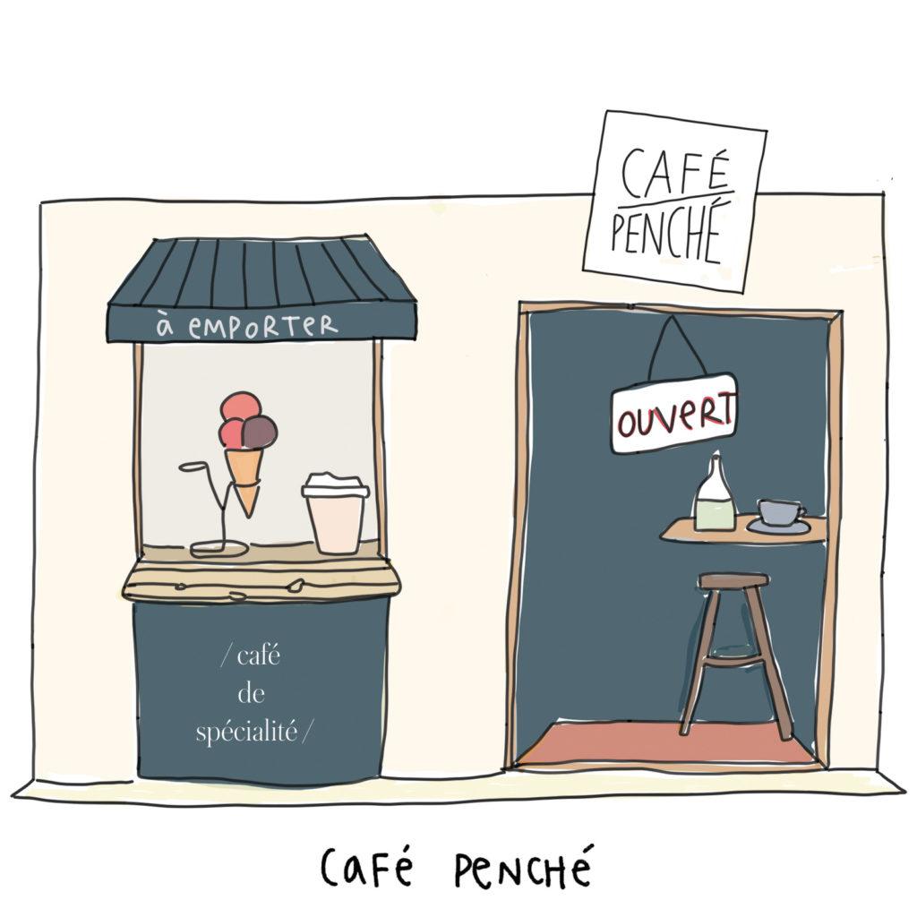 """façade du café penché avec les inscriptions """" à emporter """" et """" café de spécialité """""""